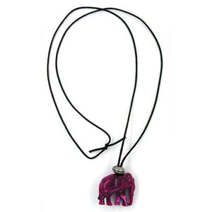 necklace elephant purple marbled