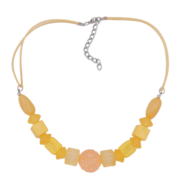 necklace yellow beads yellow cord