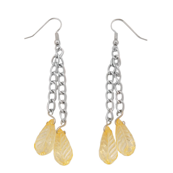 hook earrings chain silver coloured with leaf beads yellow