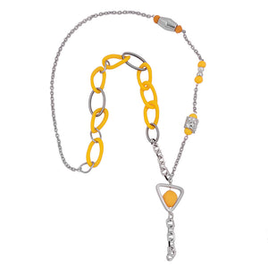 necklace yellow beads chain links