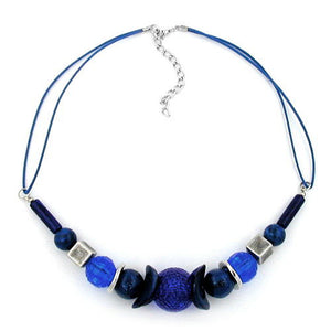 necklace honeycomb bead blue/ silver-coloured beads