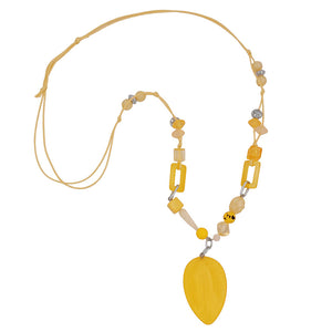 necklace yellow beads with chain links