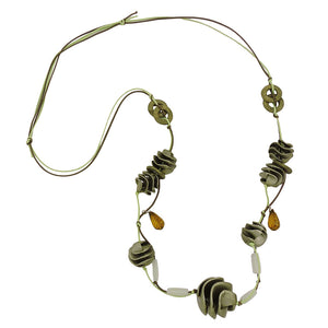 necklace olive-green spiral beads cord
