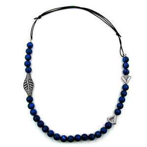 necklace blue beads long