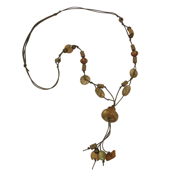 necklace beads silk-olive-green