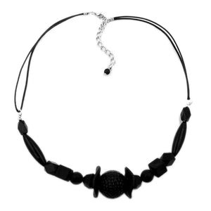 necklace different shaped black beads,
