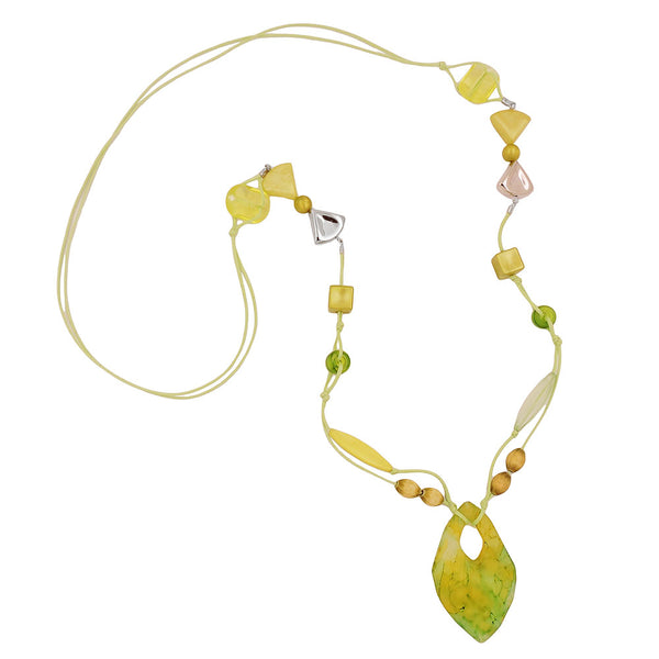 necklace beads and 2-fold cord yellow