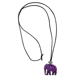 necklace elephant purple-marbled