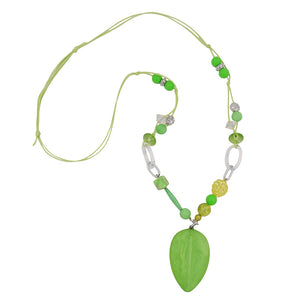 necklace green-antique-silver beads