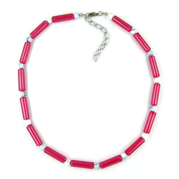 necklace beads red/white silky shimmering