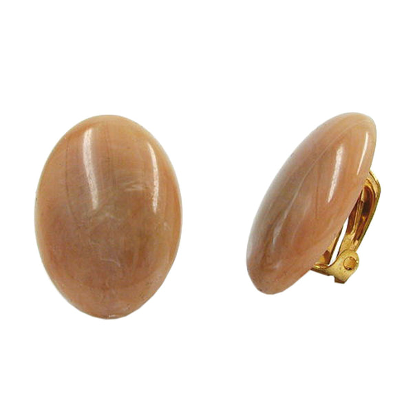 clip-on earring oval light brown marbled