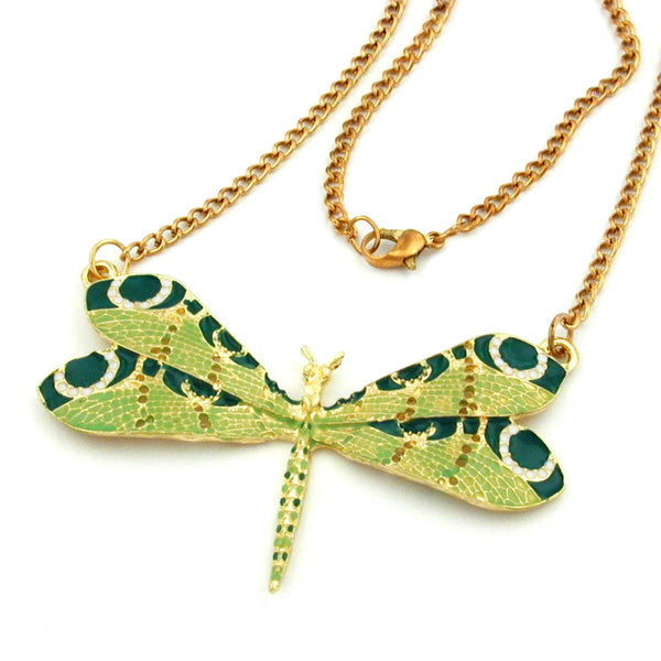 necklace dragonfly green gold coloured