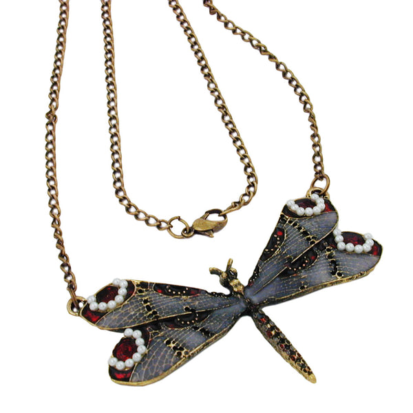 necklace dragonfly purple/grey/red gold coloured