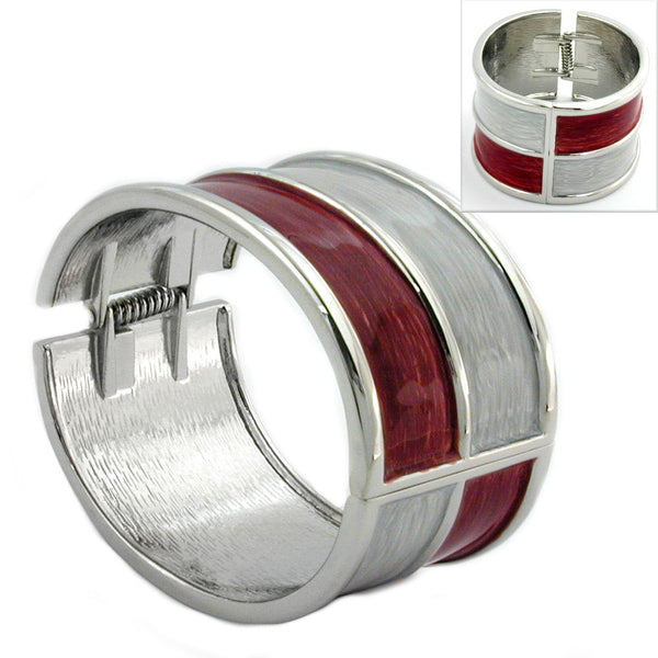 hinged bangle red grey enameled