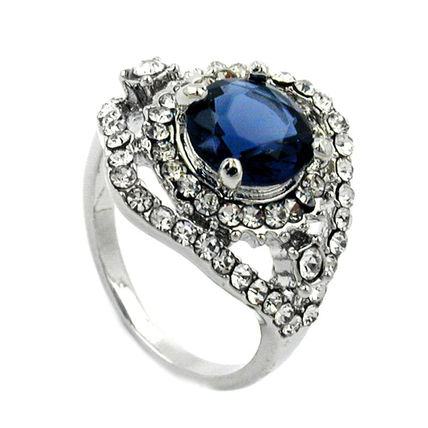 Ring with Blue Transparent Glass Stones