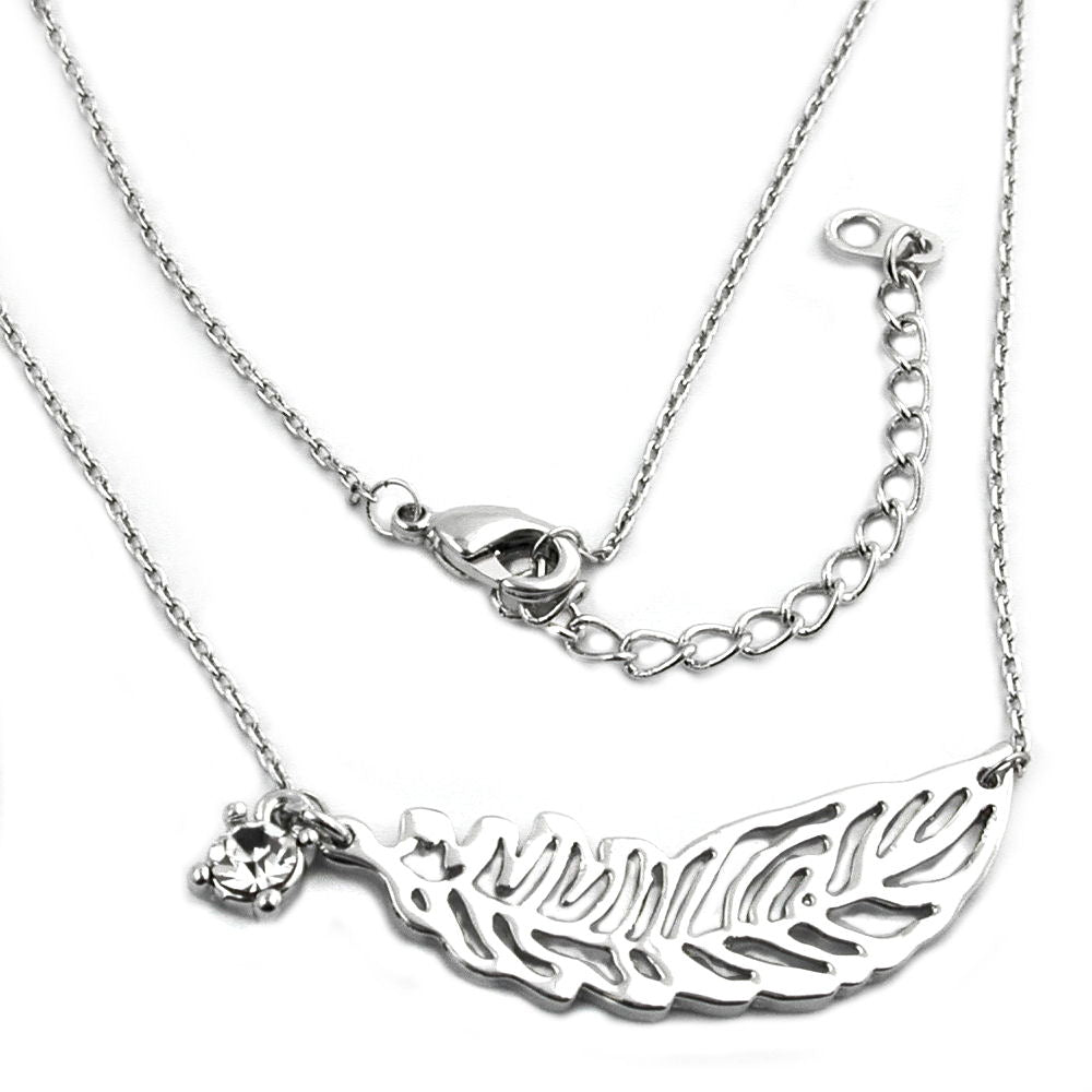 necklace leaf/ feather pendant white gold coloured