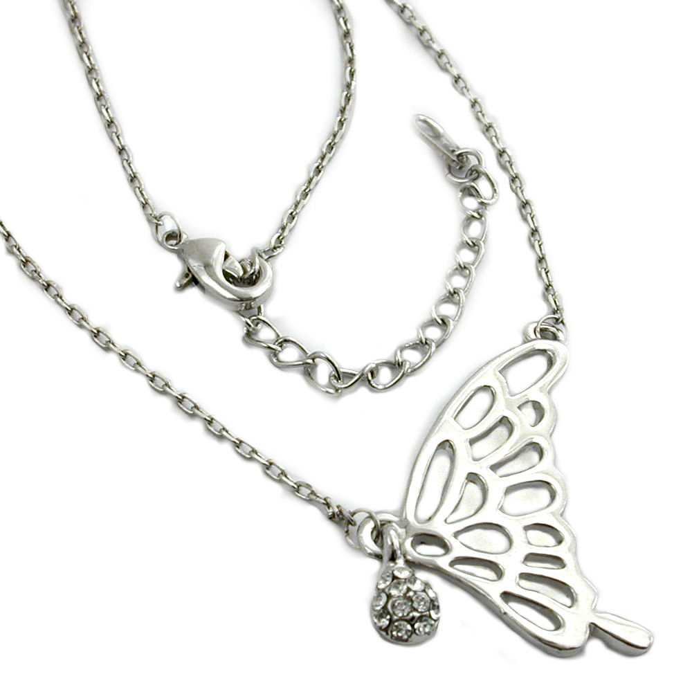 necklace pendant butterfly wing white gold coloured