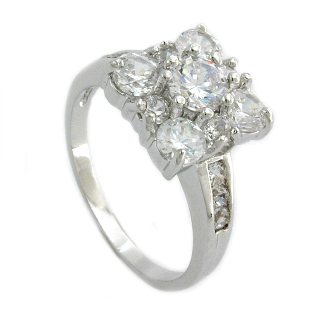 Ring with Cubic Zirconia Crystal White