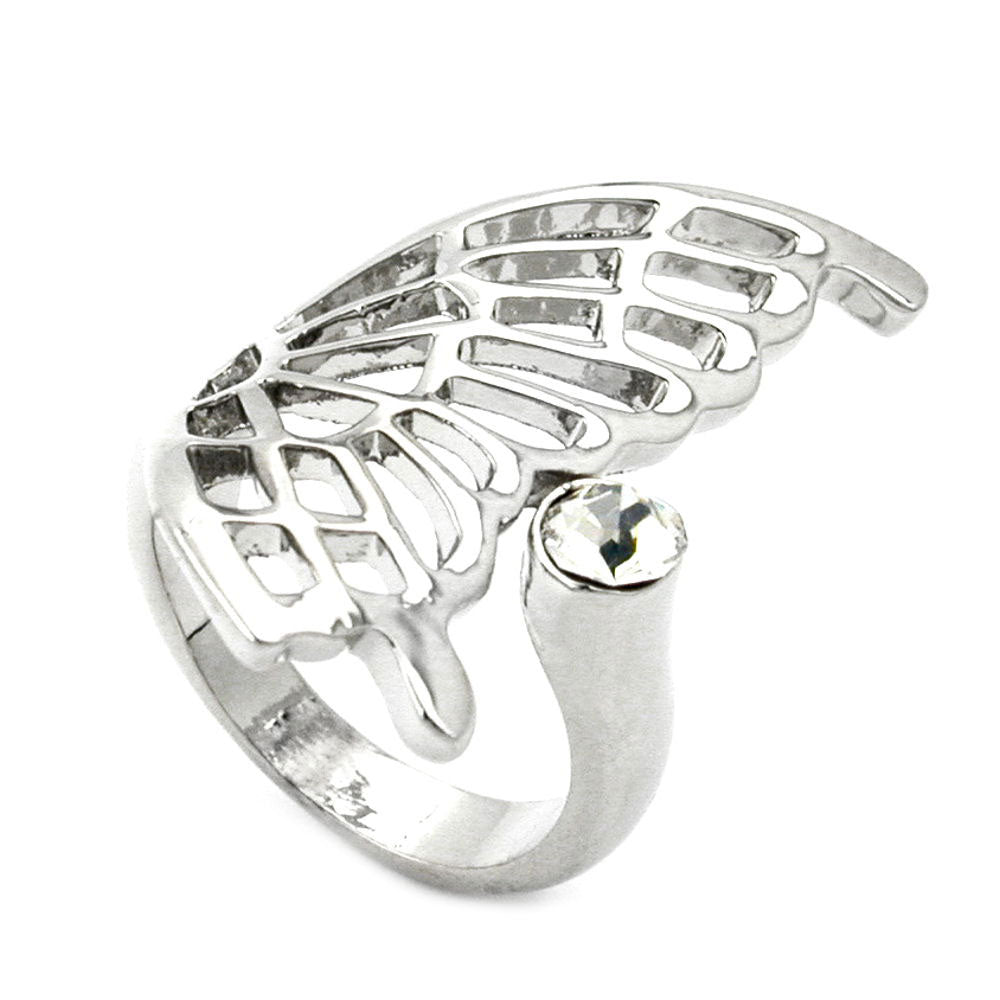 Ring with Butterfly Wing Glass Crystal Rhodium Plated