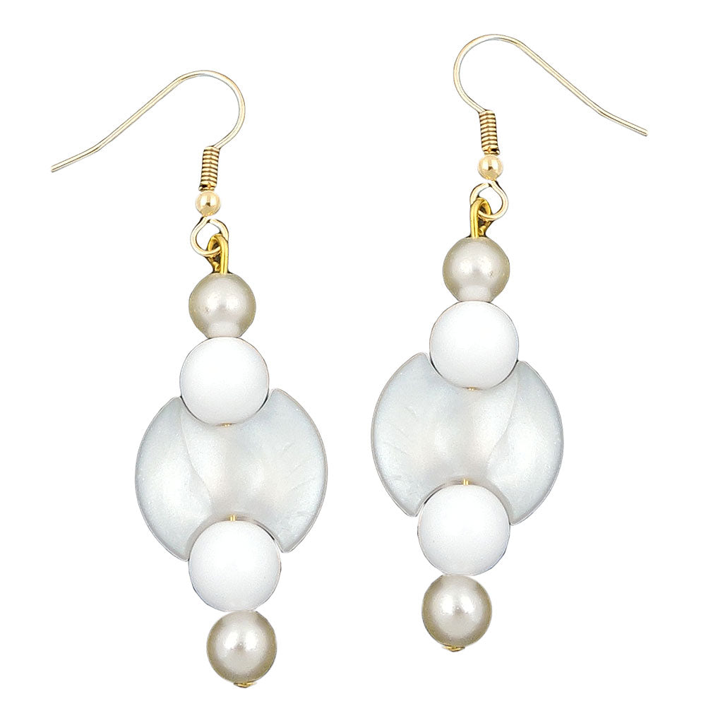 hook earrings beads white pearl white gold coloured