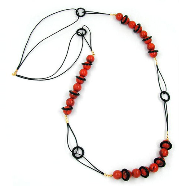 necklace beads red/ black