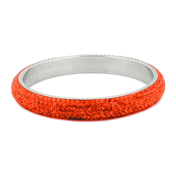 bangle 6 row glass crystals orange