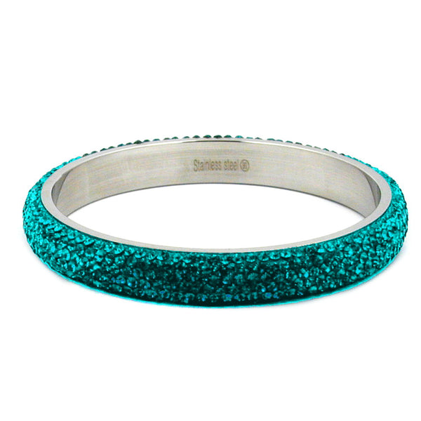 bangle 6 row glass crystals turquoise