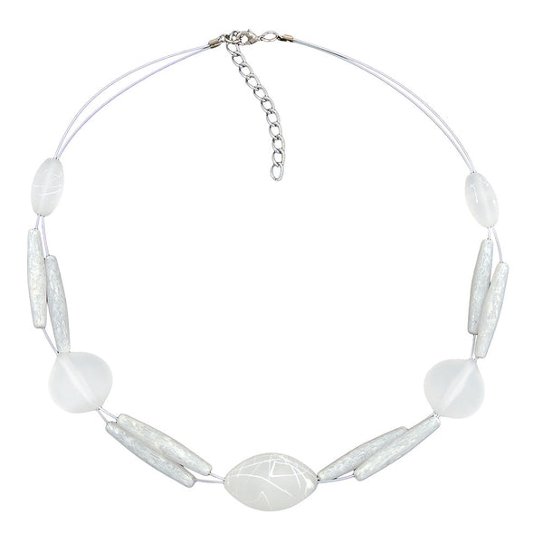 necklace white frosted beads on white-coated flexible wire
