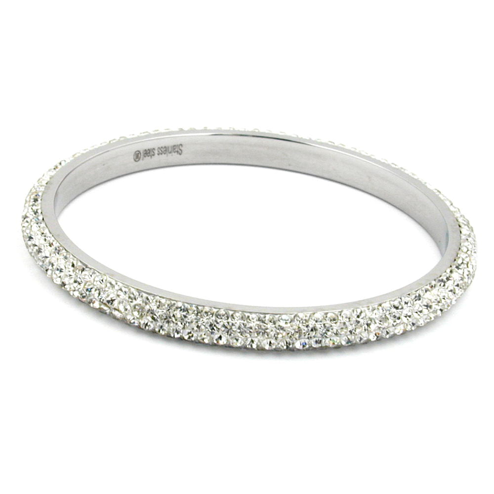 bangle 4 row glass crystals white
