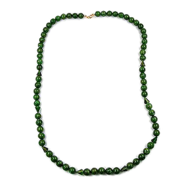 necklace beads 12mm green/ gold