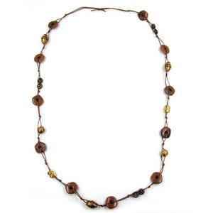 necklace knotted brown-gold-tone 100cm