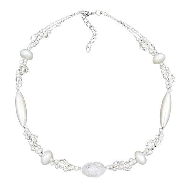 necklace kroko beads white frosted and pearly white beads