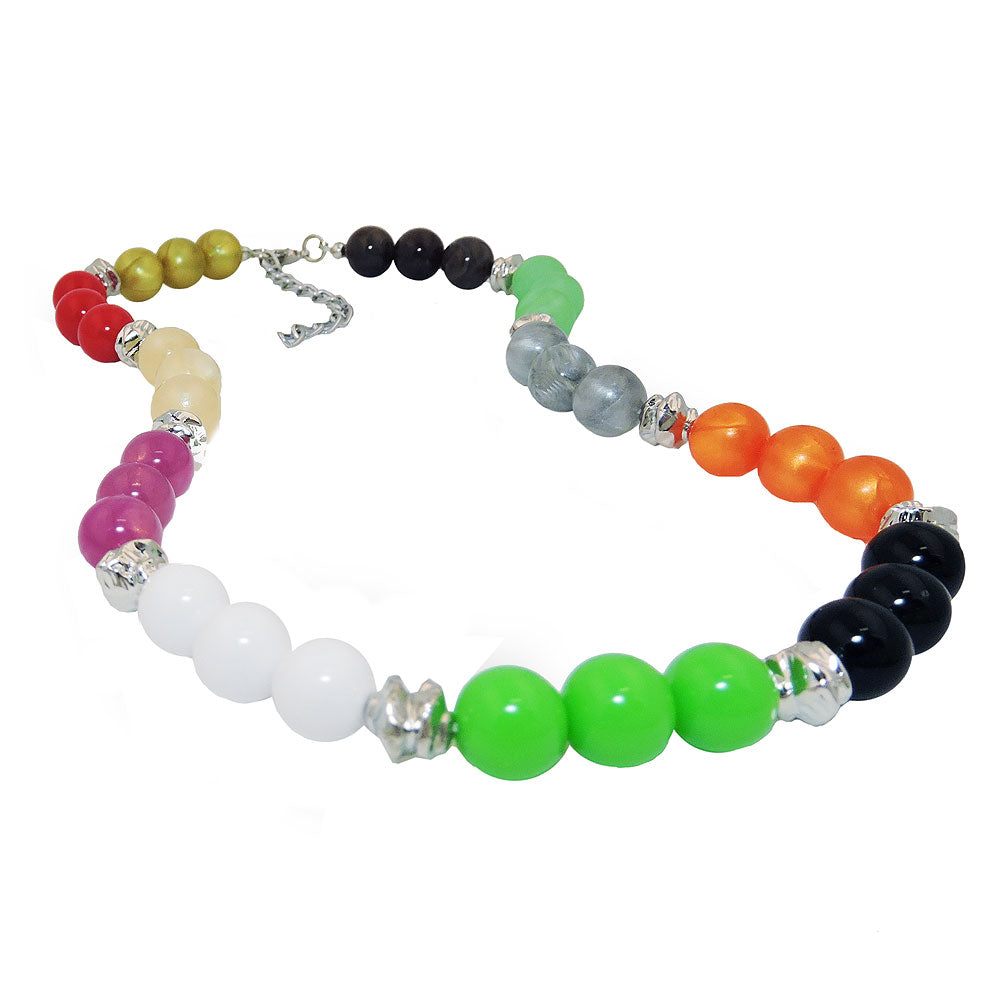 necklace beads multicolor silver coloured beads