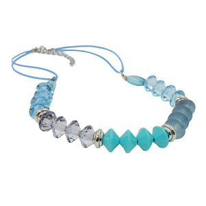 necklace faceted beads turquoise & silver colored