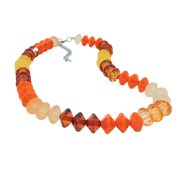 necklace faceted beads orange-colour silver coloured beads