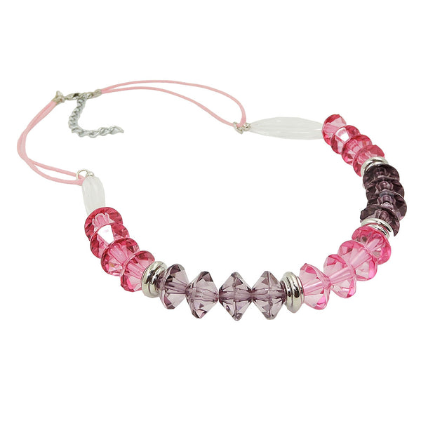 necklace faceted beads pink silver coloured beads
