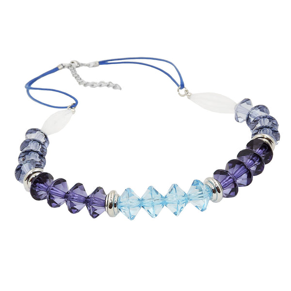 necklace faceted beads blue silver coloured beads