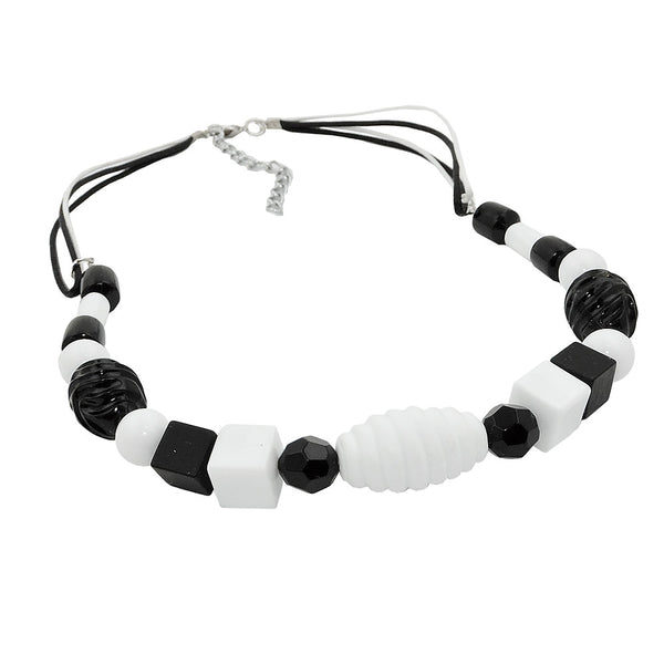 necklace various beads black and white black and white cord