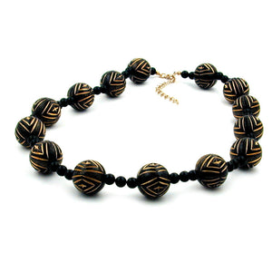 necklace designer beads black/gold-coloured