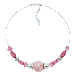 necklace pink and silver-coloured beads on coated flexible wire