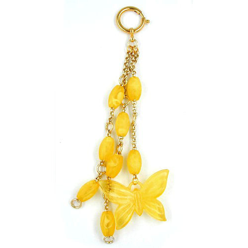 bag charm butterfly and beads yellow