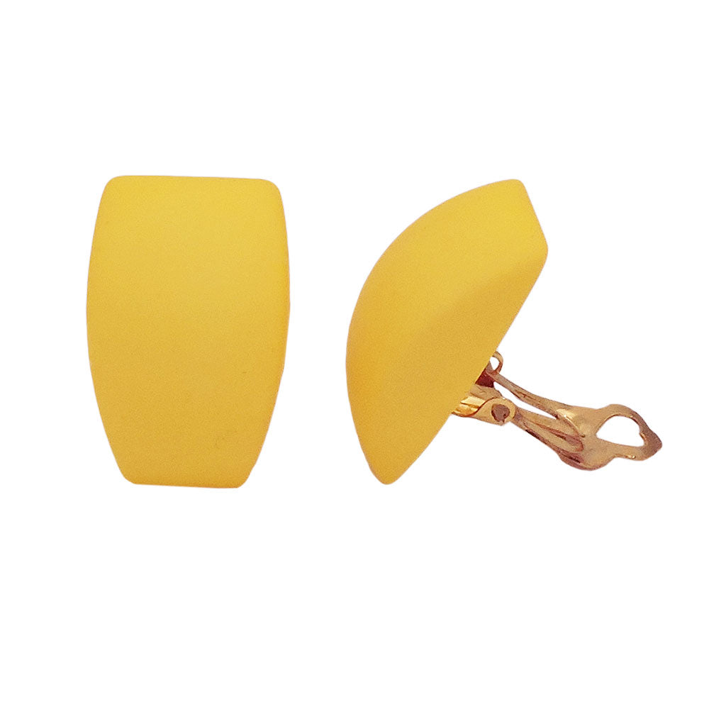 earring clip-on trapezium yellow matt