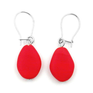 hook earrings flat olive shaped red matte