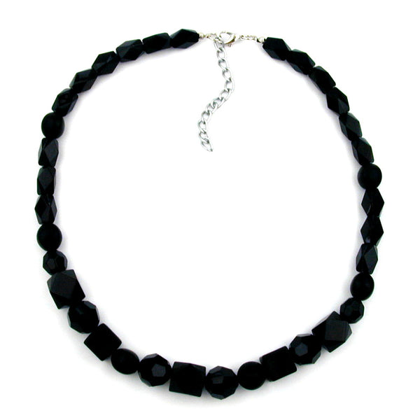necklace black beads faceted & different bead shapes