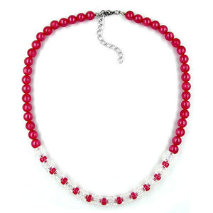 necklace beads red-transparent 45cm