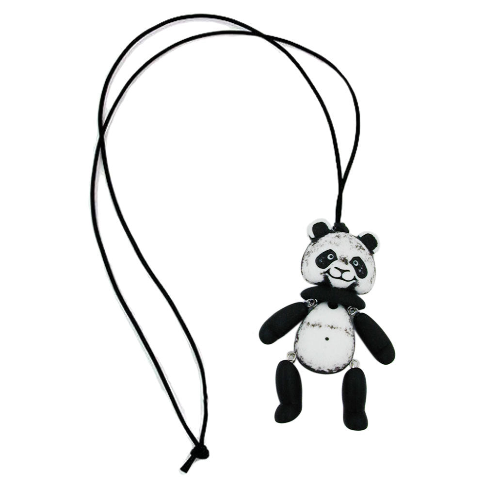 necklace black-white panda black cord 90cm
