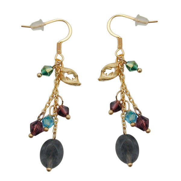 hook earrings stone glass beads multi colour
