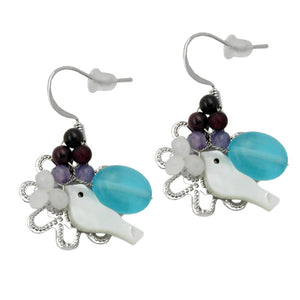 hook earrings stone bird & flower