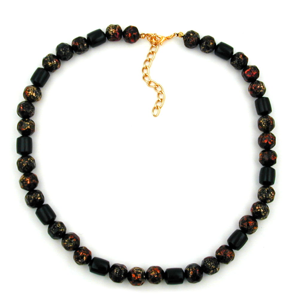 necklace red/ black pressed beads