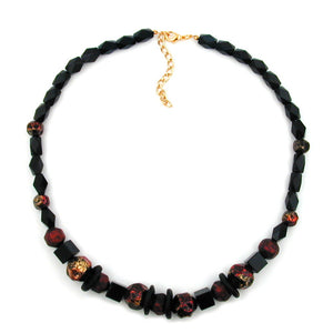 necklace faceted black beads red lacquered